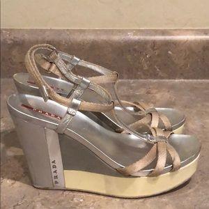 Prada Shoes - [PRADA] Silver/Tan Wedges (AS IS)